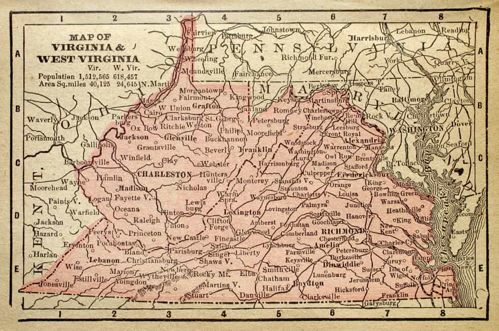 Map of Virginia and West Virginia